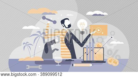 Work Life Balance With Male Career And Entertainment Choice Tiny Person Concept. Businessman Priorit