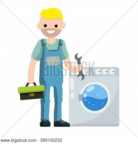 Plumber Repairs Washing Machine. Breakdown Of Household Appliances. Worker With A Wrench, Tool. Serv