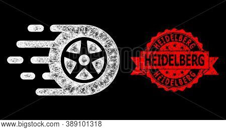 Glare Mesh Polygonal Car Wheel With Lightspots, And Heidelberg Grunge Ribbon Stamp Seal. Red Seal Ha