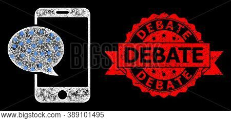 Glare Mesh Network Smartphone Message With Glowing Spots, And Debate Corroded Ribbon Seal. Red Stamp