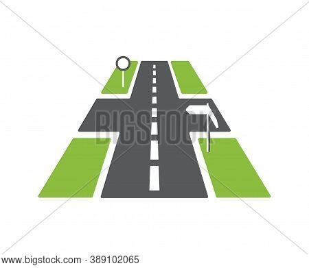 Asphalt Road Icon - Well-maintained Roadway With Good Surface And Road Signs - Isolated Vector Emble