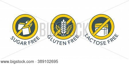 Sugar Free, Gluten Free, Lactose Free - Set Of Vector Marking Tags - Food Cover Decoration Elements