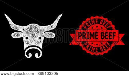 Glare Mesh Network Bull Head With Glowing Spots, And Prime Beef Unclean Ribbon Stamp Seal. Red Stamp