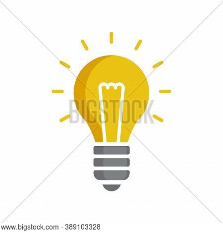Lightbulb Icon - Glowing Electric Lamp In Flat Cartoon Decoration For Idea, Creativity Or Electrical