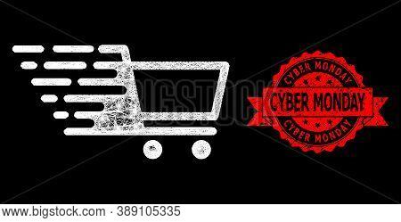 Glowing Mesh Web Shopping Cart With Light Spots, And Cyber Monday Textured Ribbon Seal. Red Seal Con