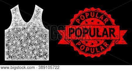 Glowing Mesh Net Gilet With Glowing Spots, And Popular Dirty Ribbon Stamp Seal. Red Stamp Seal Inclu