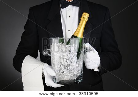 Closeup of a Sommelier holding a Champagne Ice Bucket in front of his torso. Horizontal format on a light to dark gray background.