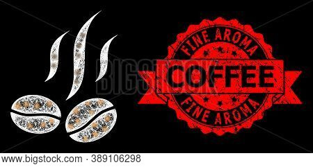 Bright Mesh Polygonal Coffee Beans Smell With Light Spots, And Fine Aroma Coffee Dirty Ribbon Seal I