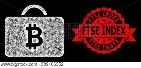 Glare Mesh Polygonal Bitcoin Case With Glowing Spots, And Ftse Index Rubber Ribbon Seal Imitation. R
