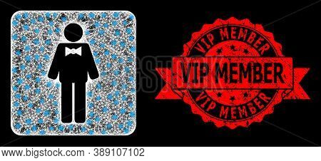 Glare Mesh Polygonal Groom With Lightspots, And Vip Member Grunge Ribbon Seal Print. Red Stamp Seal