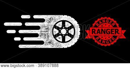 Bright Mesh Polygonal Tire Wheel With Light Spots, And Ranger Rubber Ribbon Stamp Seal. Red Stamp Se