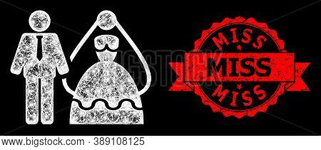 Shiny Mesh Polygonal Bride And Groom With Glowing Spots, And Miss Rubber Ribbon Stamp Seal. Red Seal
