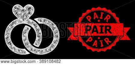 Glowing Mesh Polygonal Wedding Rings With Lightspots, And Pair Rubber Ribbon Stamp Seal. Red Stamp S