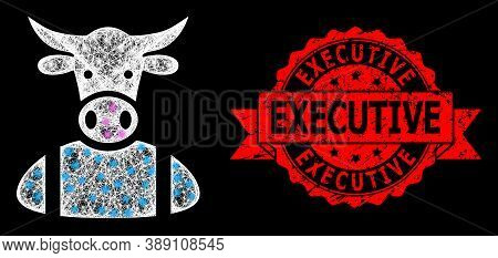 Glowing Mesh Polygonal Cow Boy With Light Spots, And Executive Unclean Ribbon Stamp Seal. Red Stamp