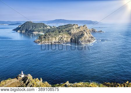 San Martiño Island Seen From The Top Of Montefaro In The Cies Islands, Galicia, With A Blue Atlantic