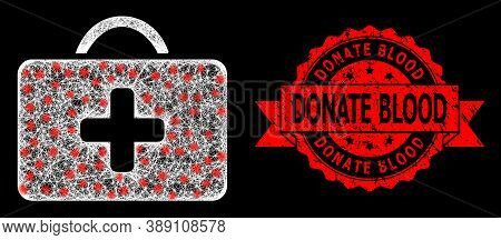 Glowing Mesh Polygonal Medical Case With Glowing Spots, And Donate Blood Grunge Ribbon Seal. Red Sta