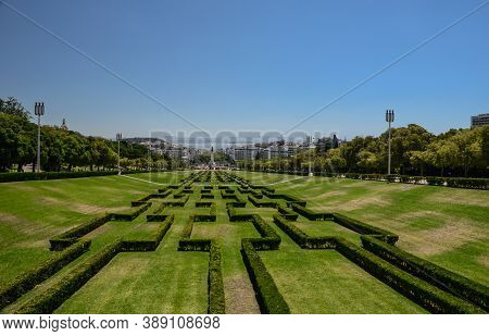 View Of The Labyrinth Of Eduardo Vii Park And Gardens, The Largest Park In The Center Of Lisbon And