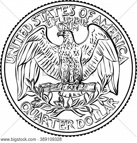 American Money, United States Washington Quarter Dollar Or 25-cent Silver Coin, The National Bird Of