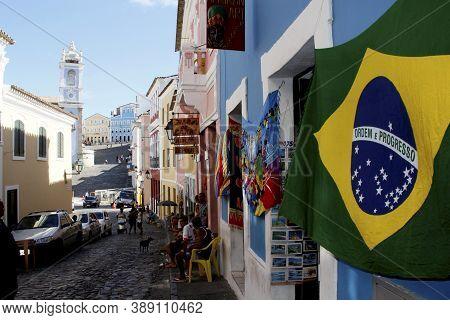 Salvador, Bahia / Brazil - March 3, 2013: Brazilian Flag Is Seen In Souvenir Shop In Pelourinho, Cen