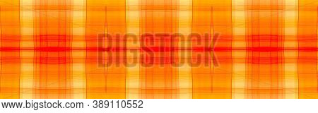 Yellow Tartan Background. Watercolour Check Material. Color Geometric Squares For Tile Design. Seaml
