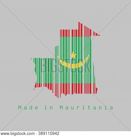 Barcode Set The Shape To Mauritania Map Outline And The Color Of Mauritania Flag On Grey Background,