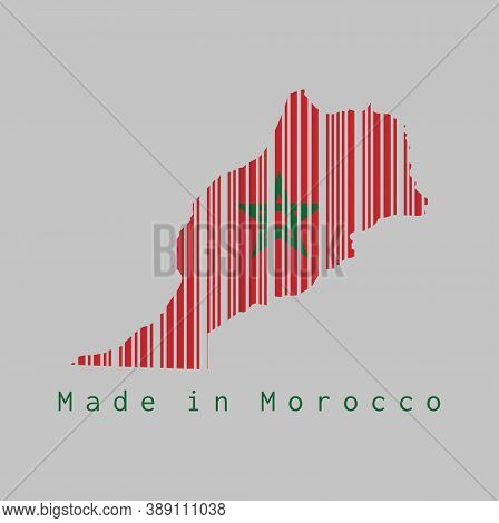 Barcode Set The Shape To Morocco Map Outline And The Color Of Morocco Flag On Grey Background, Text: