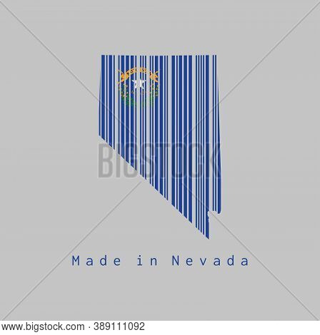 Barcode Set The Shape To Nevada Map Outline And The Color Of Nevada Flag On Grey Background, Text: M