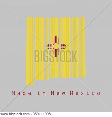Barcode Set The Shape To New Mexico Map Outline And The Color Of New Mexico Flag On Grey Background,