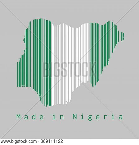 Barcode Set The Shape To Nigeria Map Outline And The Color Of Nigeria Flag On Grey Background, Text: