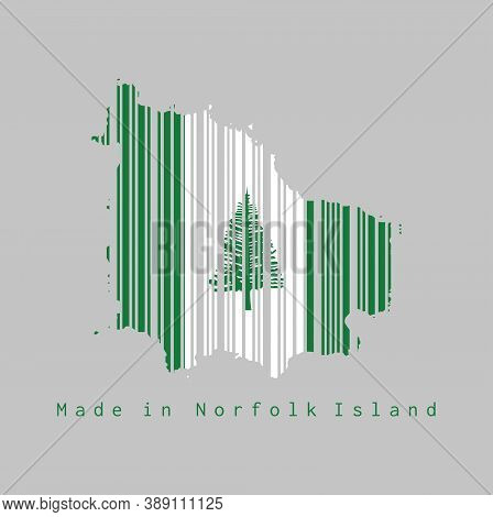 Barcode Set The Shape To Norfolk Map Outline And The Color Of Norfolk Flag On Grey Background, Text: