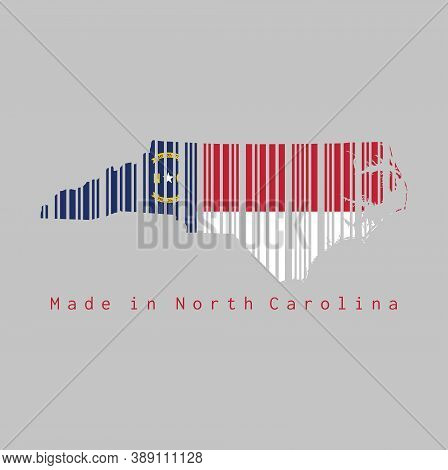 Barcode Set The Shape To North Carolina Map Outline And The Color Of North Carolina Flag On Grey Bac