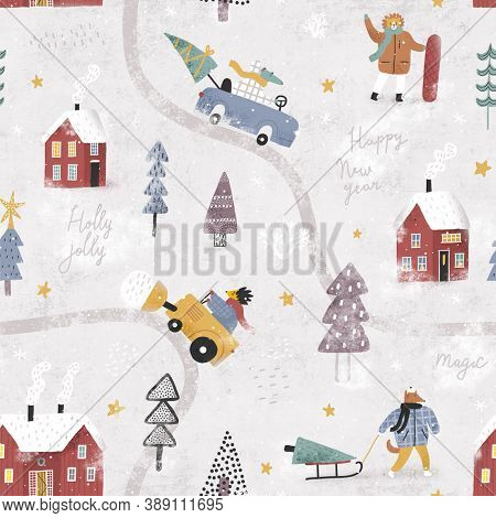 Winter landscape with cute animals, cars and houses. Winter forest. Christmas seamless pattern.