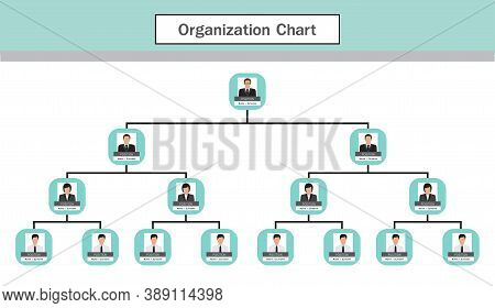 Organization Chart Infographics With People Icon And Abstract Line, Business Structure, Hierarchy Of