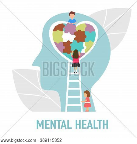 Mental Health Concept Vector Illustration. Girl And Boy Making Heart Jigsaw In Brain. World Mental H