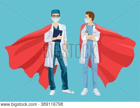 Super Doctor And Nurse Wearing Medical Masks And Capes, Superhero Couple. Doctors Man And Woman In S