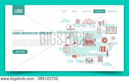 Ugc User Generated Content Concept With Circle Icon For Website Template Or Landing Page Banner Home