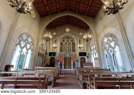 Oakland, California - October 10, 2020: Main Chapel Of Chapel Of The Chimes
