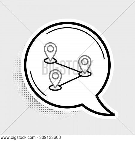 Line Route Location Icon Isolated On Grey Background. Map Pointer Sign. Concept Of Path Or Road. Gps