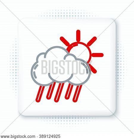 Line Cloud With Rain And Sun Icon Isolated On White Background. Rain Cloud Precipitation With Rain D
