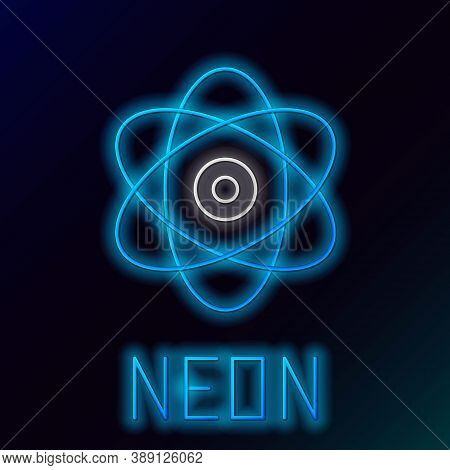 Glowing Neon Line Atom Icon Isolated On Black Background. Symbol Of Science, Education, Nuclear Phys