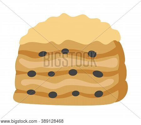 Puff Pastry With Raisins. Isolated On White Background. Vector Illustration.