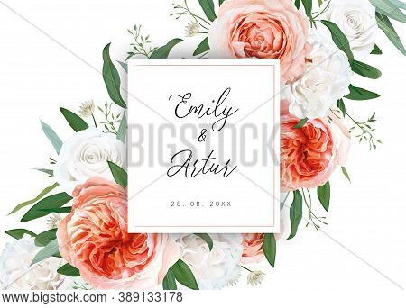 Wedding Vector Floral Invite, Invitation Save The Date Card Design. Ivory White, Blush Peach Flowers