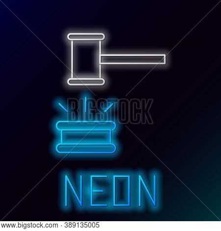 Glowing Neon Line Judge Gavel Icon Isolated On Black Background. Gavel For Adjudication Of Sentences