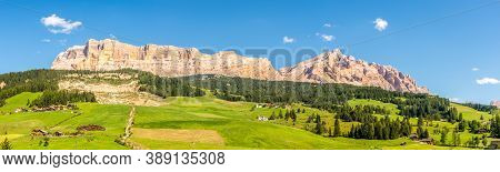 Panoramic View At The Monte Cavallo Mountains From Alta Badia In Dolomites - South Tyrol, Italy