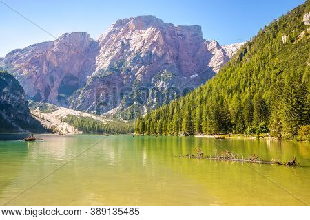 View At The Mountain Nature By The Lake Braies In South Tyrol Of Italy