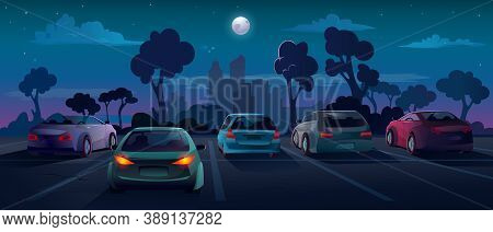 Cars At Parking Lot In Night City Street, Background Flat Cartoon Illustration. Outdoor Parking Lot