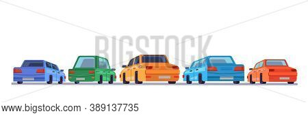 Cars Standing Rear Backs, Cartoon Vehicles Backside On Parking, Isolated Icons. Cartoon Automobiles