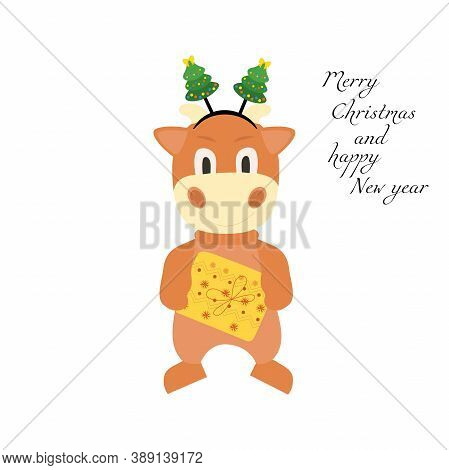 Cute Cartoon Bull With A Gift In The New Year S Rim. Vector Illustration Of An Animal Isolated On A