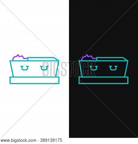 Line Open Coffin With Dead Deceased Body Icon Isolated On White And Black Background. Funeral After