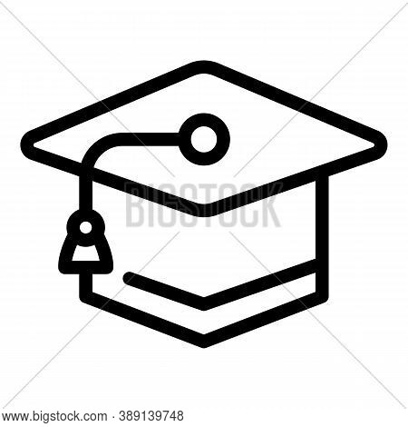 Learning Graduation Hat Icon. Outline Learning Graduation Hat Vector Icon For Web Design Isolated On